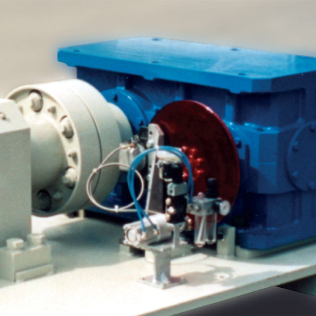 Detail of the reduction gear and brake unit