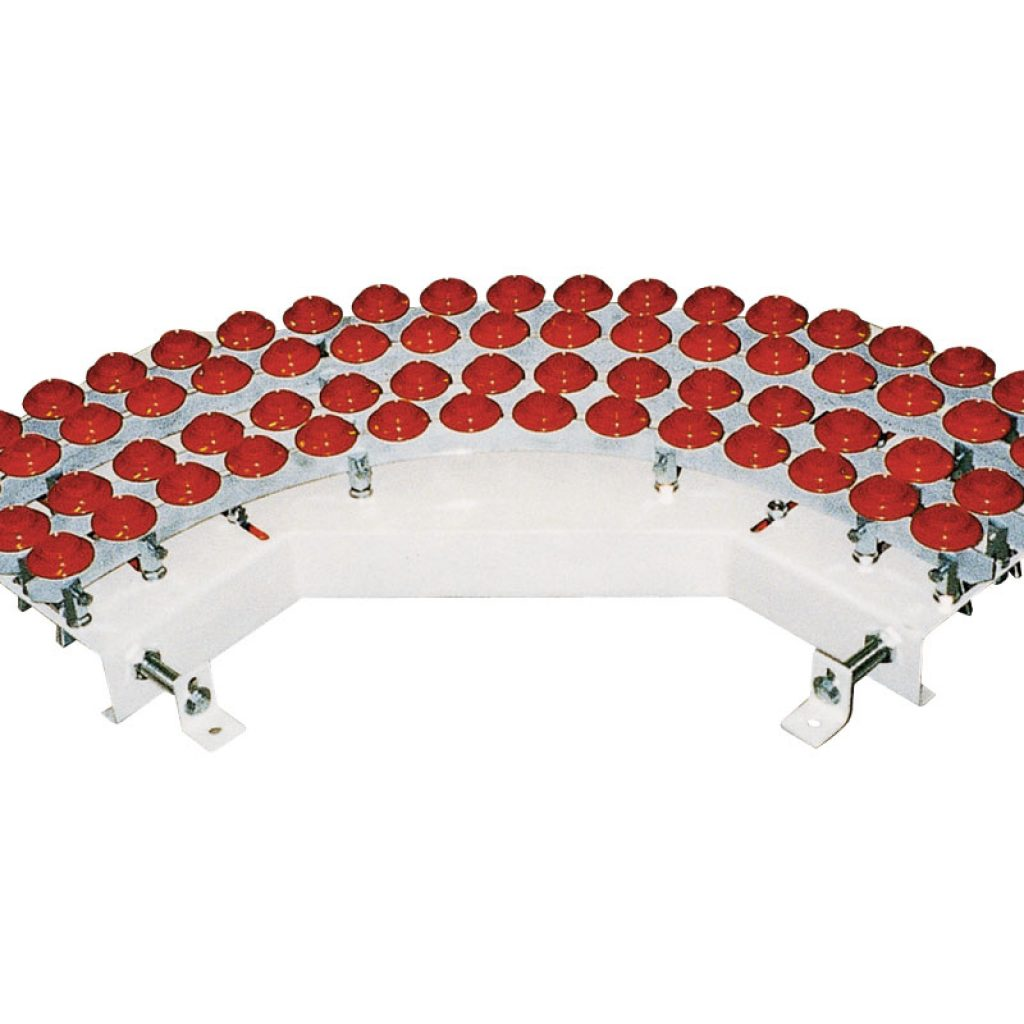 Round belt curve with rollers