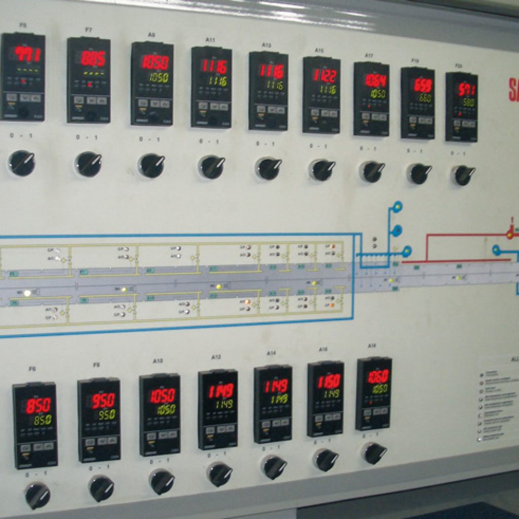 Detail of the above mentioned kiln's mimic panel during commissioning