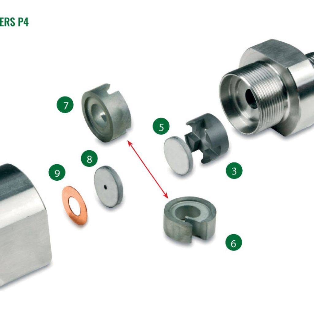 Nozzles for spray driers P4