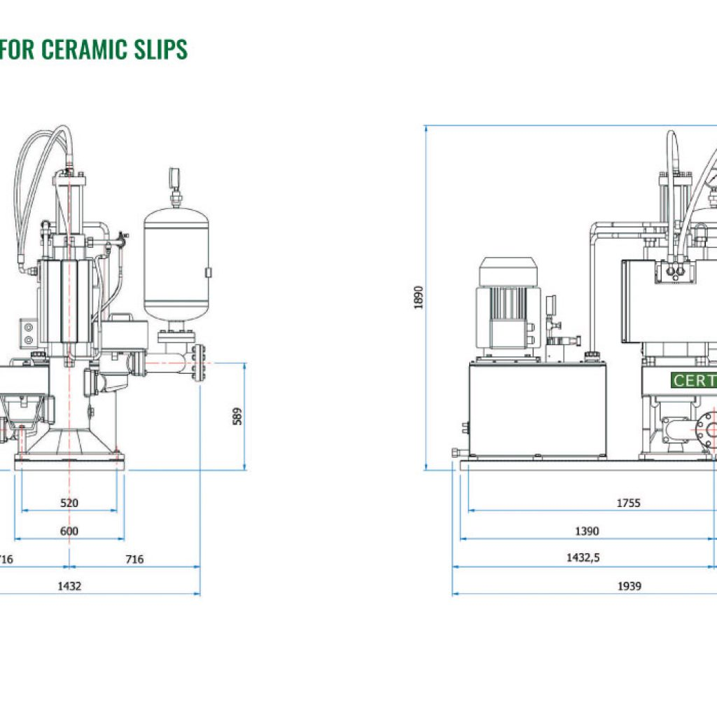 Scheme piston pumps for ceramic slips