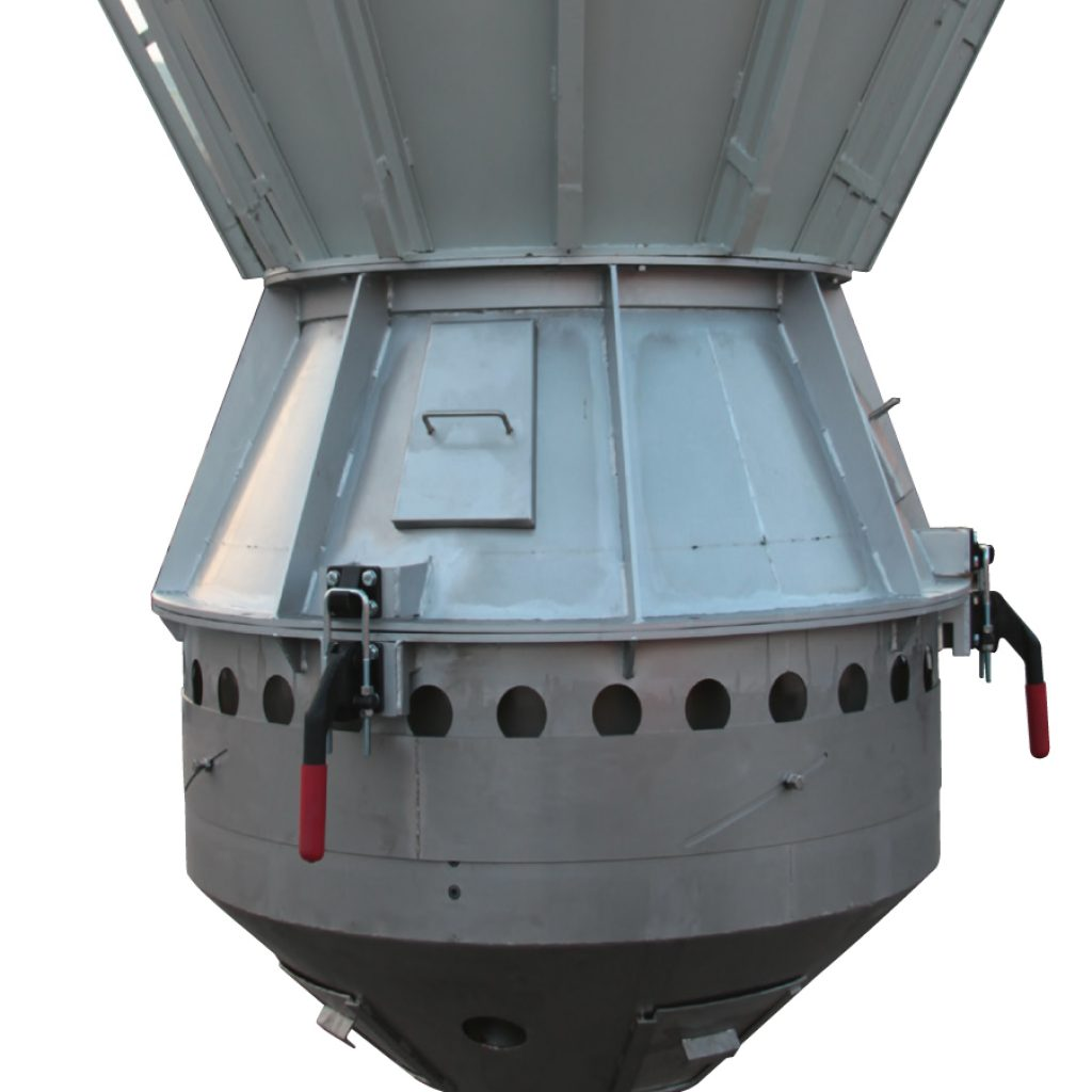 Openable cooler for atomized powder with pneumatic piston, closed