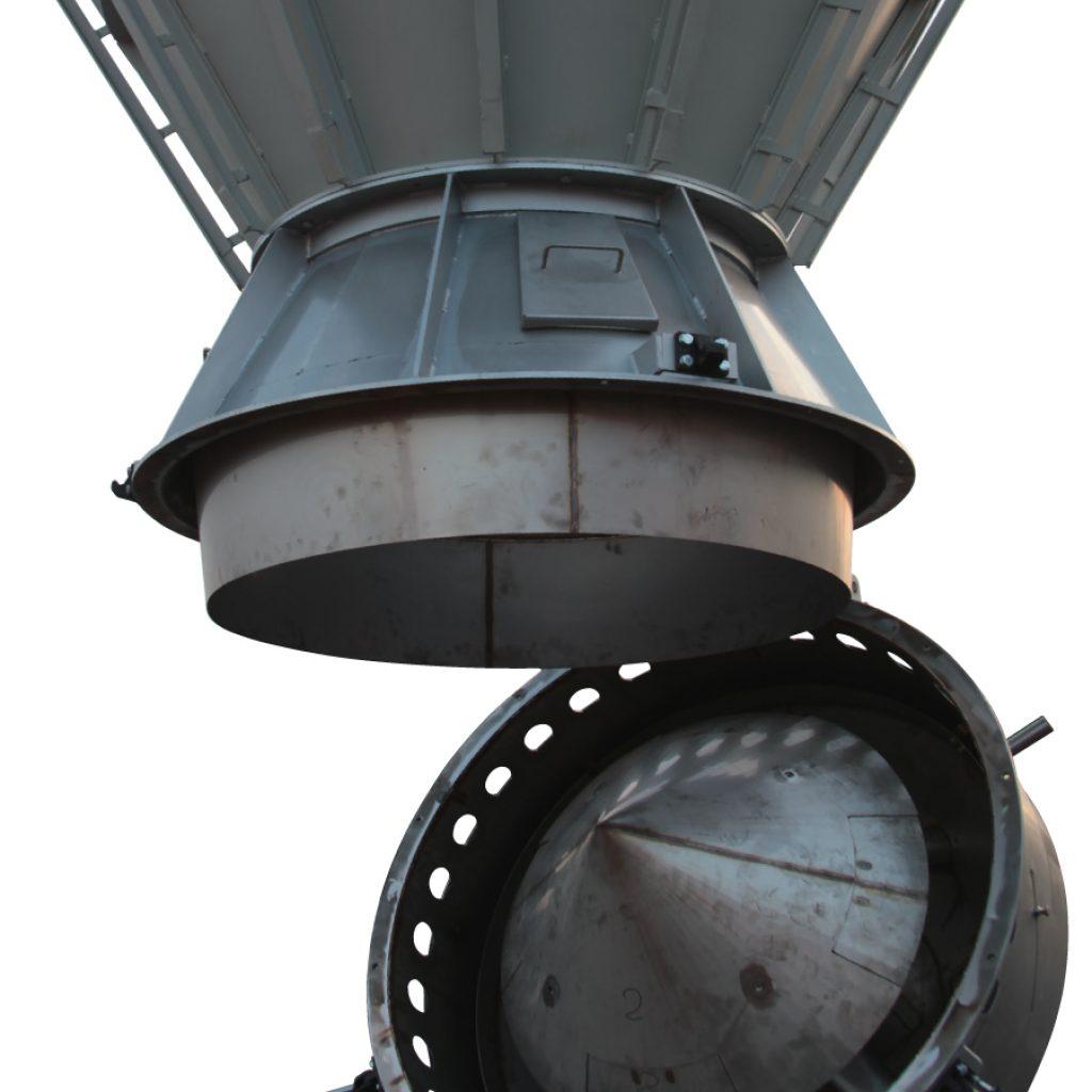 Raffreddatore per polvere atomizzata apribile con pistone pneumatico aperto