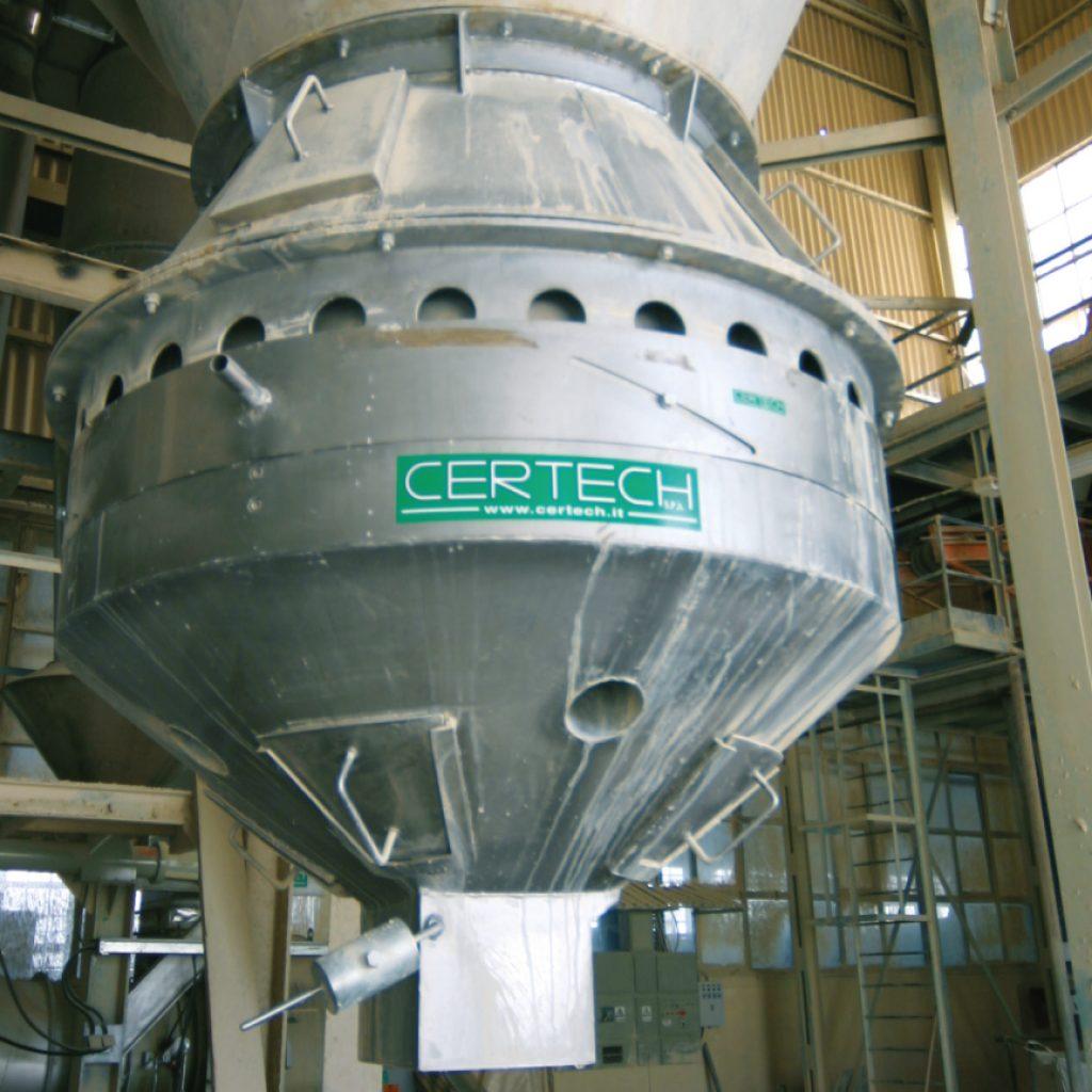 Raffreddatore per polvere atomizzata da installare sotto l'atomizzatore